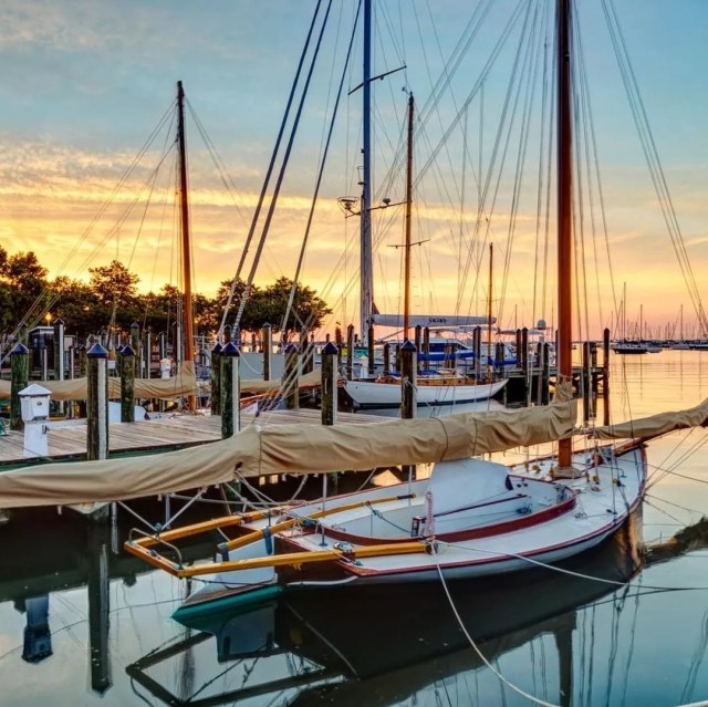 Boats Parked at a Local Dock in Annapolis, MD. Photo by Instagram user @visitannapolis