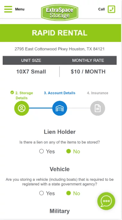 Extra Space Storage Rapid Rental screenshot