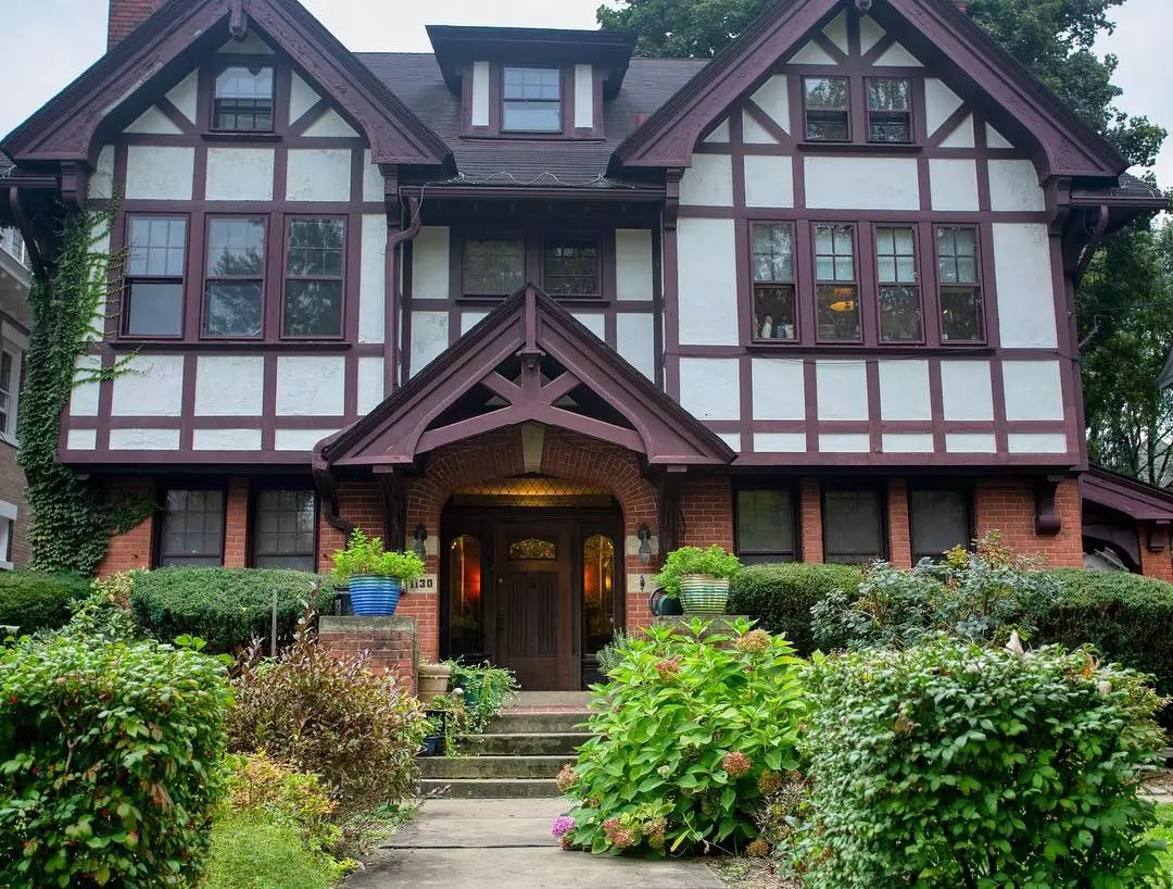 Tudor Style Home with Brick Base in Highland Park Neighborhood in Pittsburgh. Photo by Instagram user @cummings.brothers