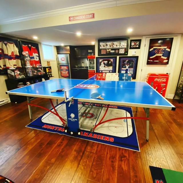 Basement Hangout Space with Montreal Canadiens Memorabilia Everywhere. Photo by Instagram user @habscave