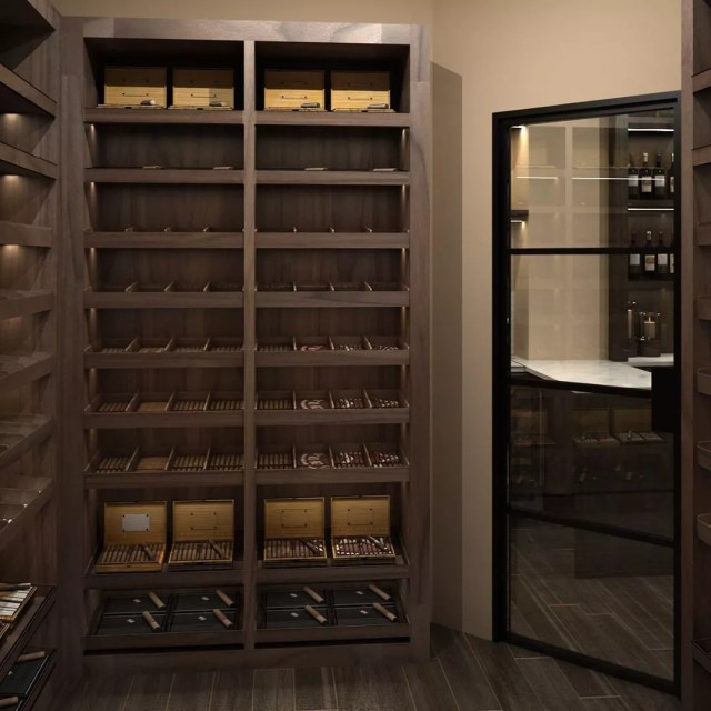 Home Cigar Humidor Room with Cigars on Shelves. Photo by Instagram user @josephandcurtis