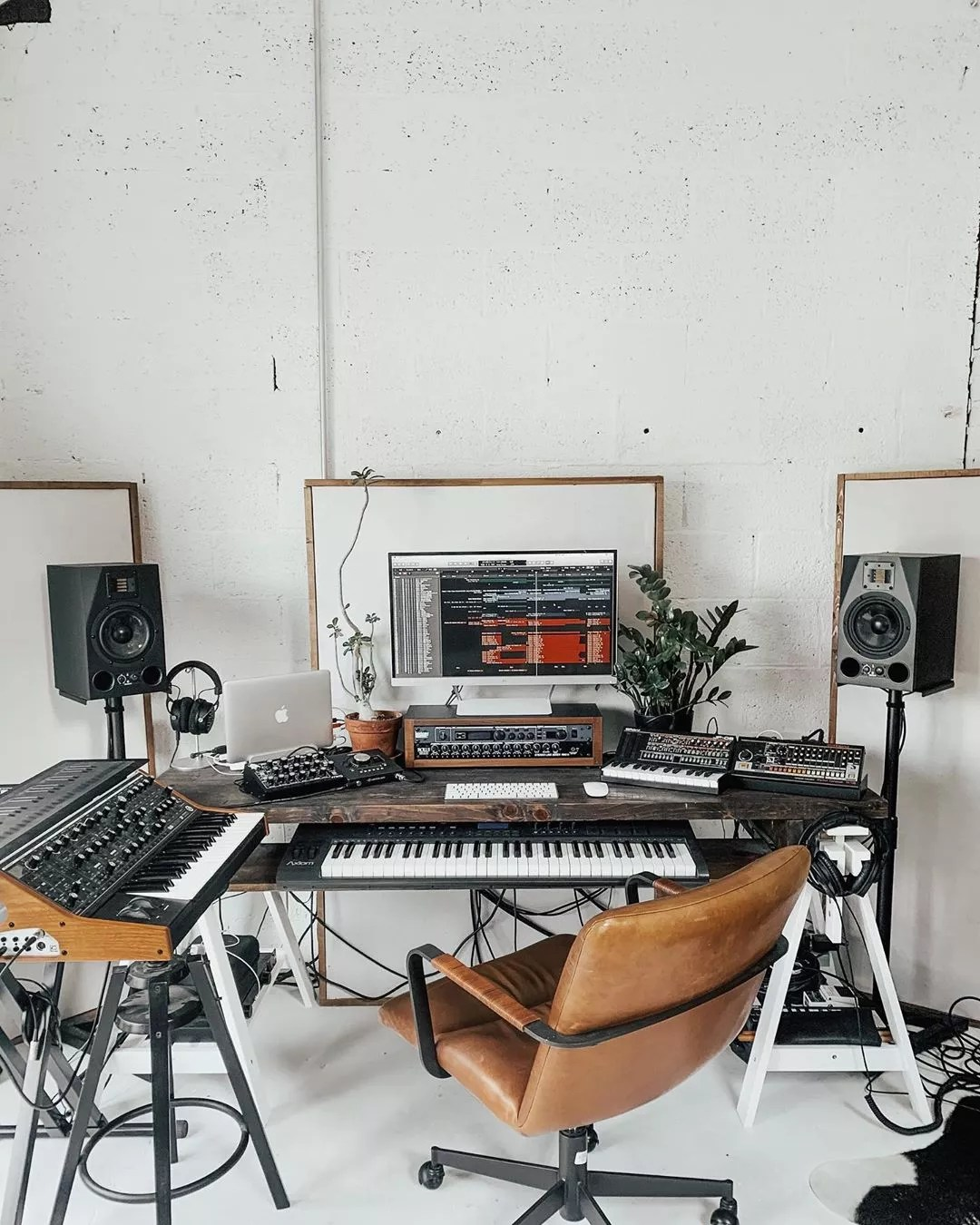 At Home Music Studio Space with Keyboards and Soundproofing. Photo by Instagram user @austinwcannon