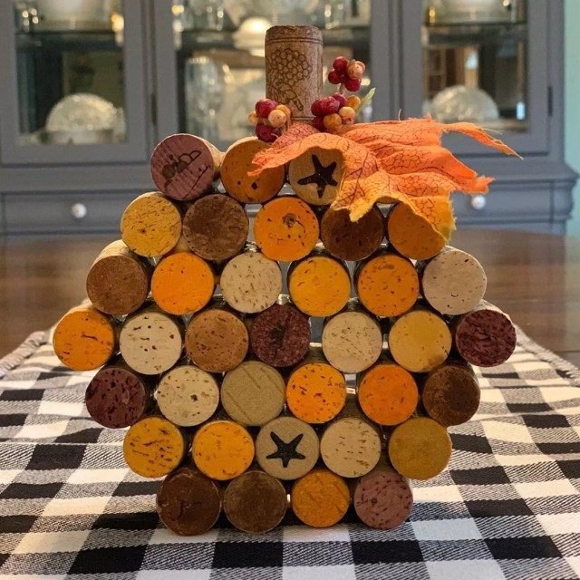 Wine Corks Glued Together to Look Like a Pumpkin. Photo by Instagram user @akporfilio