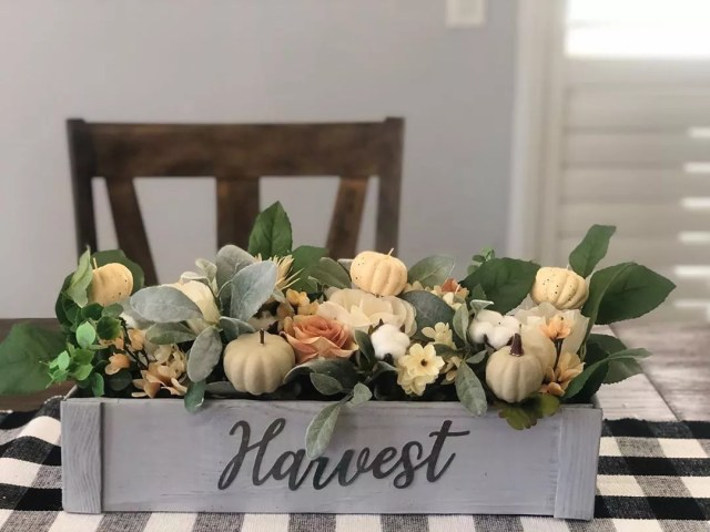 Wooden Centerpiece With Fall Decor. Photo by Instagram user @craftingforcheap
