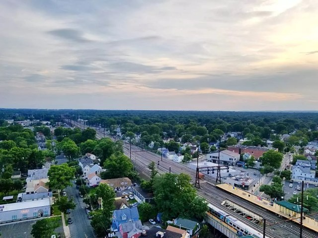 Aerial View of the town of Rahway, NJ. Photo by Instagram user @watt.hotel_byhilton
