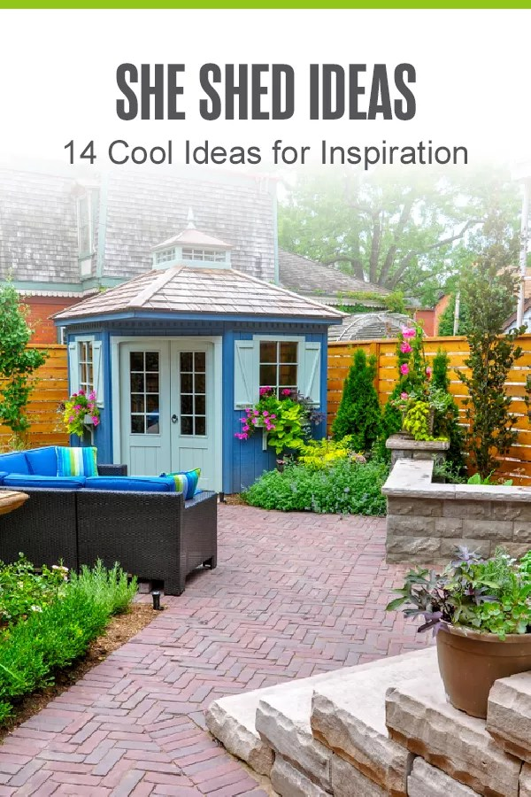 Pinterest Graphic: She Shed Ideas: 14 Cool Ideas for Inspiration