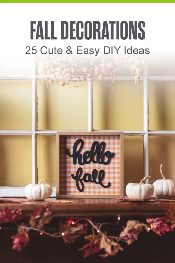 Pinterest Graphic: Fall Decorations: 25 Cute & Easy DIY Ideas