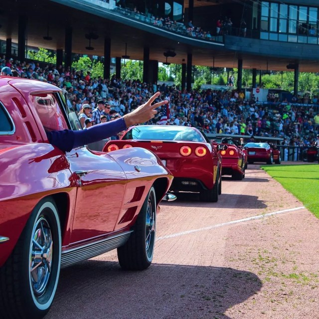Corvette Parade at CHS Field in St. Paul. Photo by Instagram user @stpaulsaints