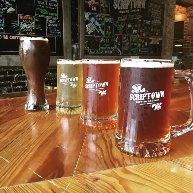Three German Style Beers in Large Mugs at Scriptown Brewing Company. Photo by Instagram user @scriptownbrewing