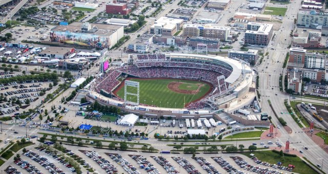 Aerial View of TD Ameritrade Park in Omaha, Home of the College World Series. Photo by Instagram user @omahaworldherald