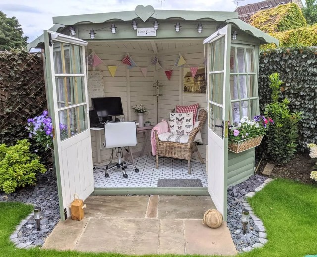 Backyard Office Space in a She Shed with French Doors. Photo by Instagram user @at_home_with_the_wheelers