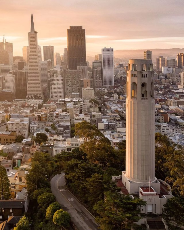 Aerial View of Downtown San Francisco, CA with Coit Tower Visible. Photo by Instagram user @fitzsimonsphotography