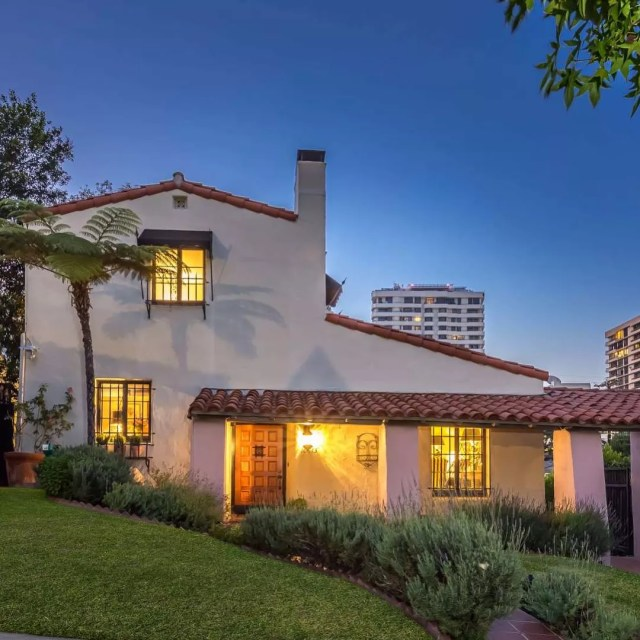 Two Story Spanish Style Home with Red Shingles in Westwood. Photo by Instagram user @compasscalifornia