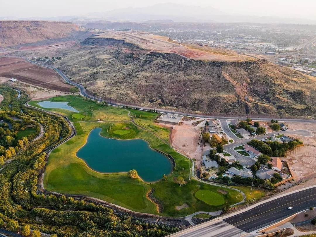 Aerial Photo of a Golf Course in St. George, UT. Photo by Instagram user @myfamiliesphotographer