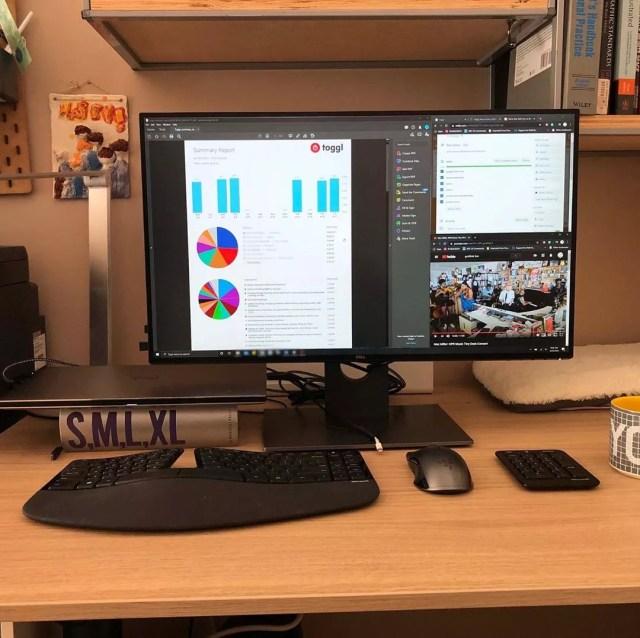 Desktop Computer Running Toggl. Photo by Instagram user @ccortezarch