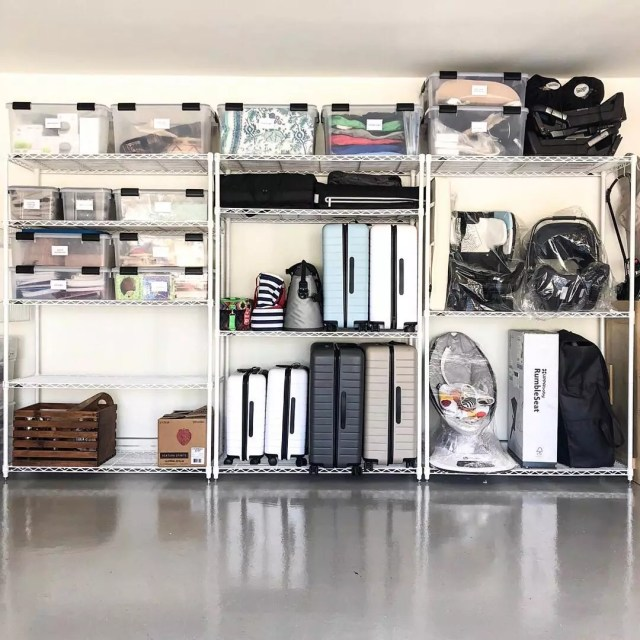 Garage Storage Space with Wire Shelving. Photo by Instagram user @lifeinjeneral