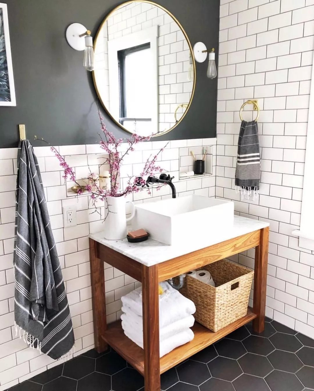 Bathroom with gray VOC-free paint. Photo by Instagram user @carpendaughter
