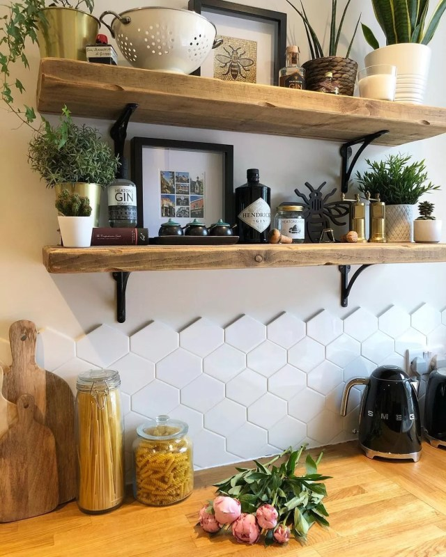 Kitchen Wall with Reclaimed Wood Floating Shelves. Photo by Instagram user @beatriceterrace1903