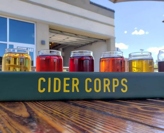 Flight of Hard Ciders at Cider Corps in Mesa. Photo by Instagram user @natashasherrets