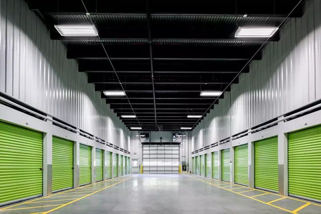 The inside a large indoor storage facility.