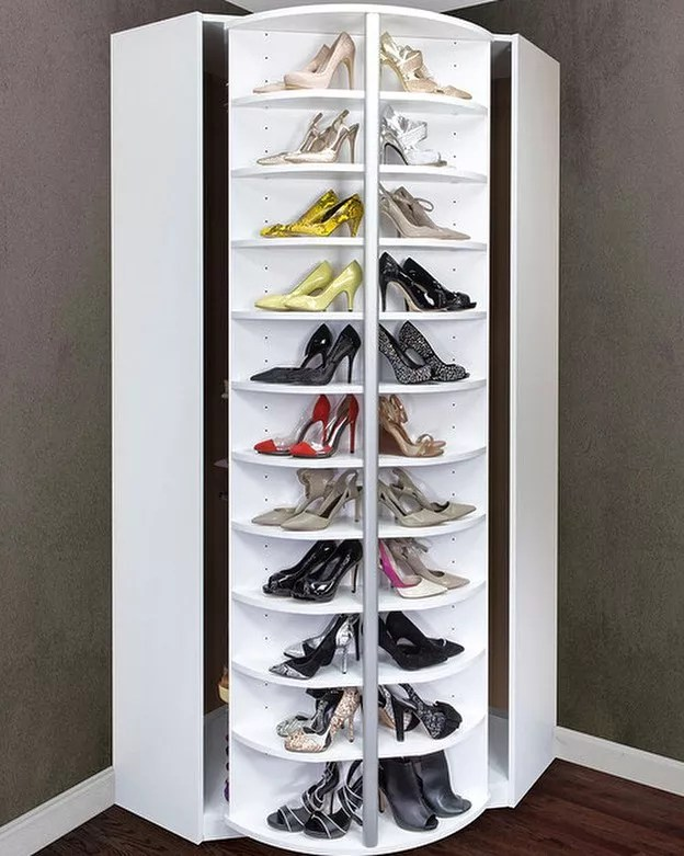 White rotating rack for displaying and storing shoes. Photo by Instagram User @garyjovancarpentry_09
