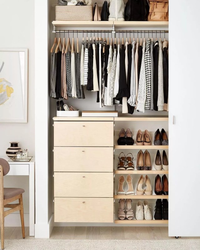 Organized Closet with a Shoe Rack. Photo by Instagram User @containerstorecustomclosets