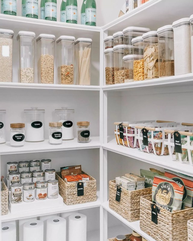 Organized Pantry with Clear Containers and Labels. Photo by Instagram user @mikaperry