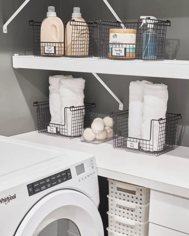 Laundry Room with Open Wire Basket Containers. Photo by Instagram user @idlivesimply