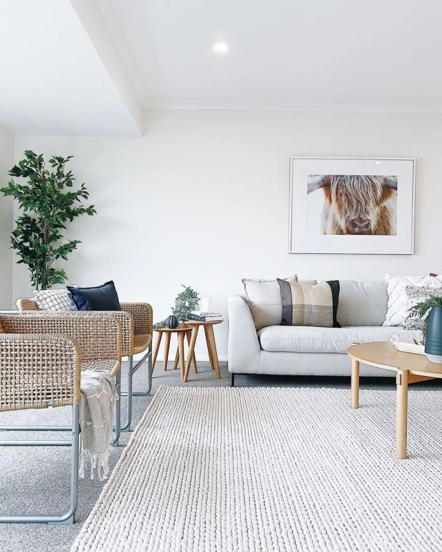 Clean, Minimalist Living Room. Photo by Instagram user @shiftpropertystyling