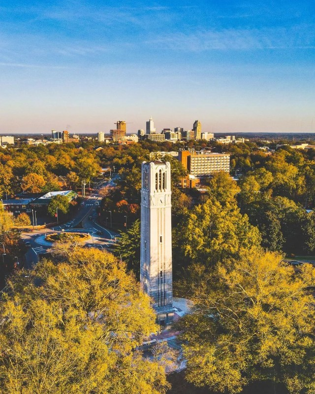 Aerial view of NC State campus clock tower. Photo by Instagram user @jonathan.mcrae