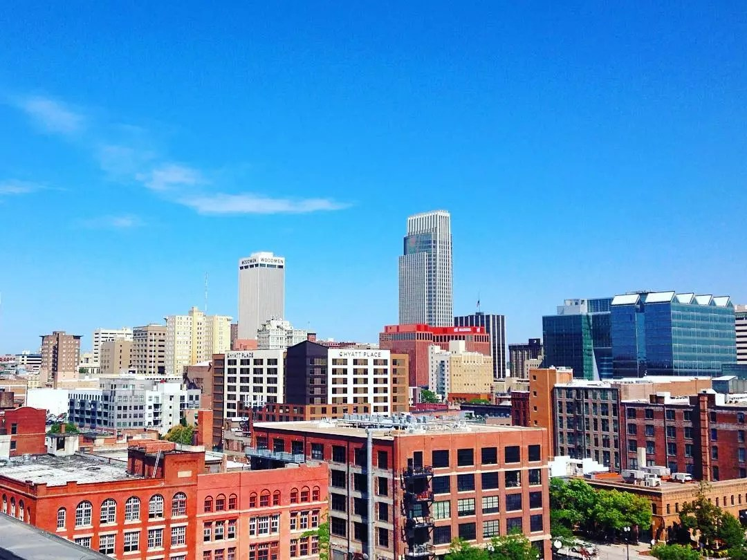 View of Downtown Omaha, Including the FNBO Building and the WoodmenLife Tower. Photo by Instagram user @_bshep