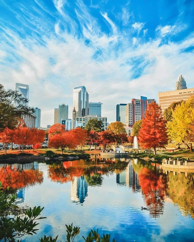 Skyline of Charlotte, NC during the fall. Photo by Instagram User @codylhughes