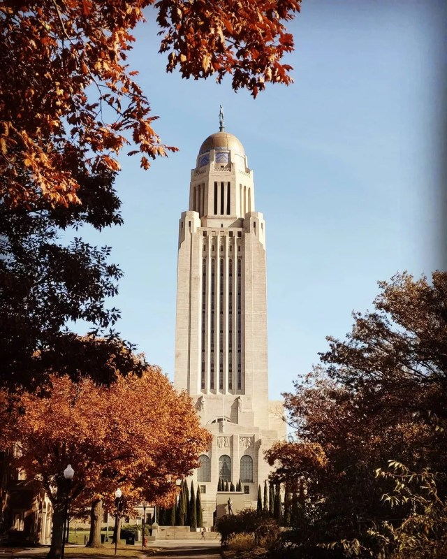 The Nebraska State Capitol Building in Lincoln, NE. Photo by Instagram User @michaelanthonychrusciel