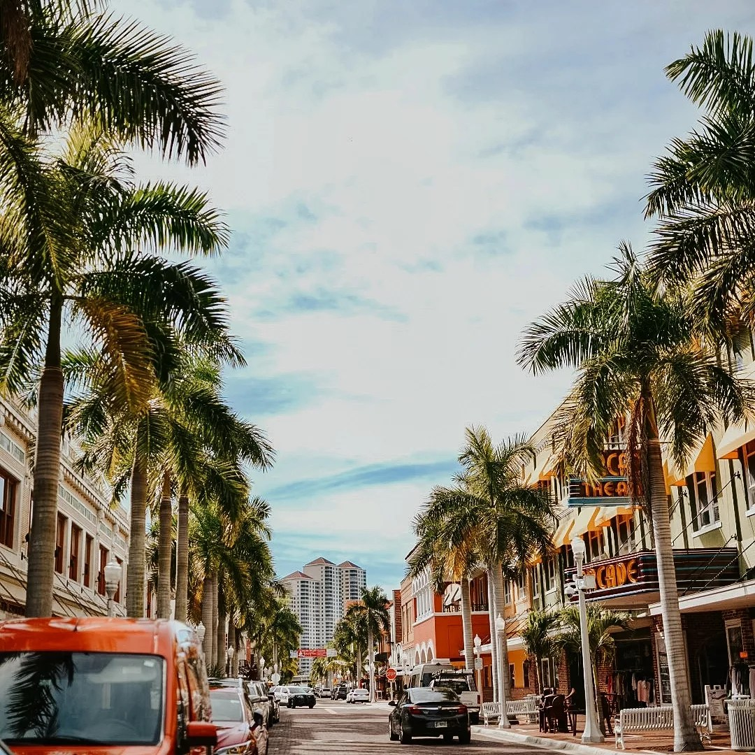Photo Looking Down the Street in the Fort Myers Downtown Commercial District. Photo by Instagram user @theverybusybee