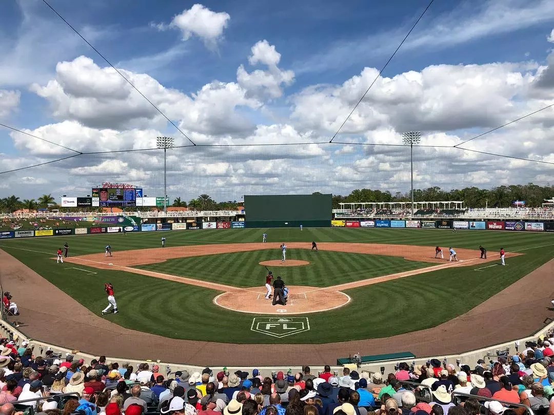 Twins and Rays Playing Spring Training Baseball at Hammond Stadium in Fort Myers. Photo by Instagram user @schadenjake