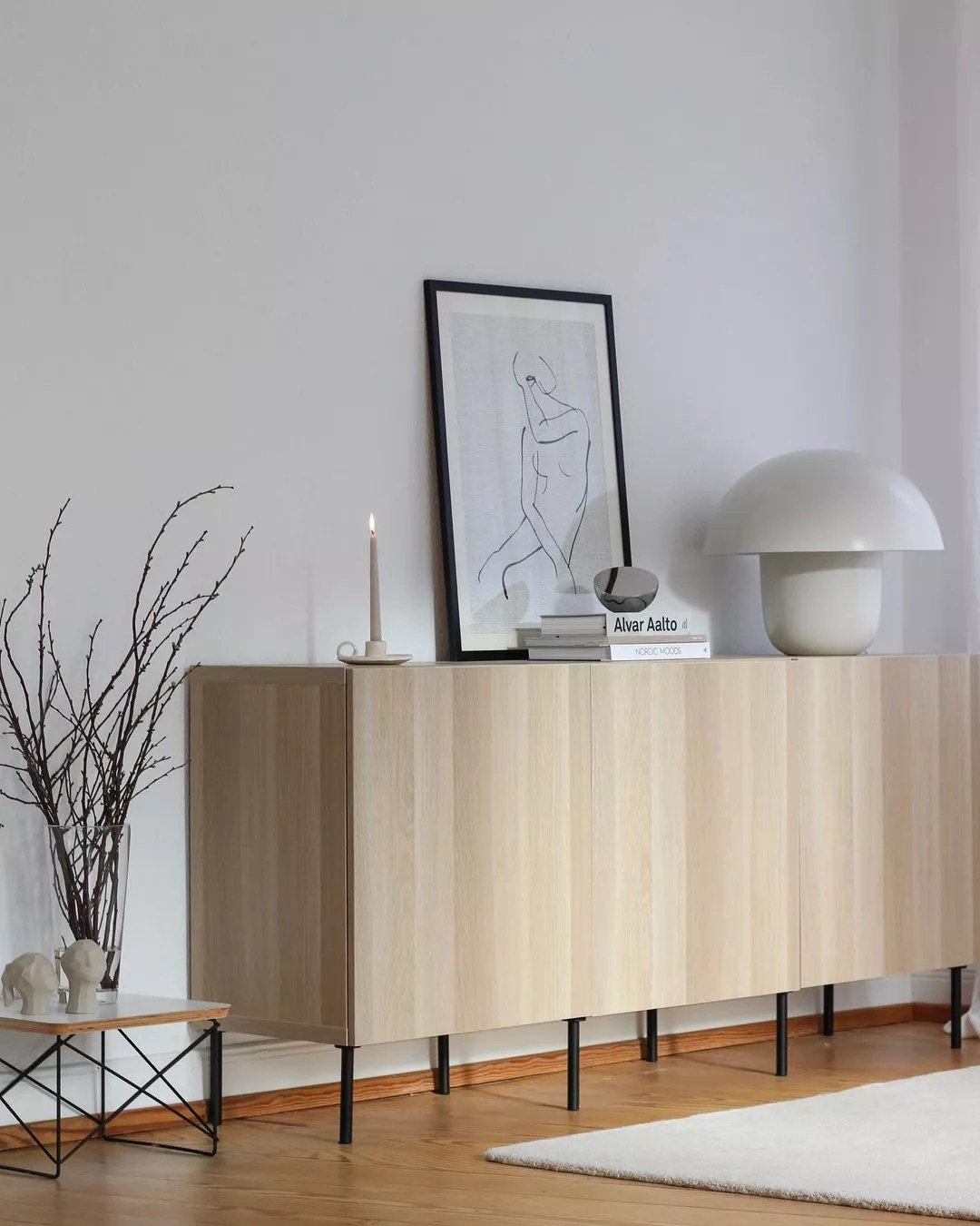 Naturally colored light wood sideboard with clean lines. Photo by Instagram user @neutral_at_home
