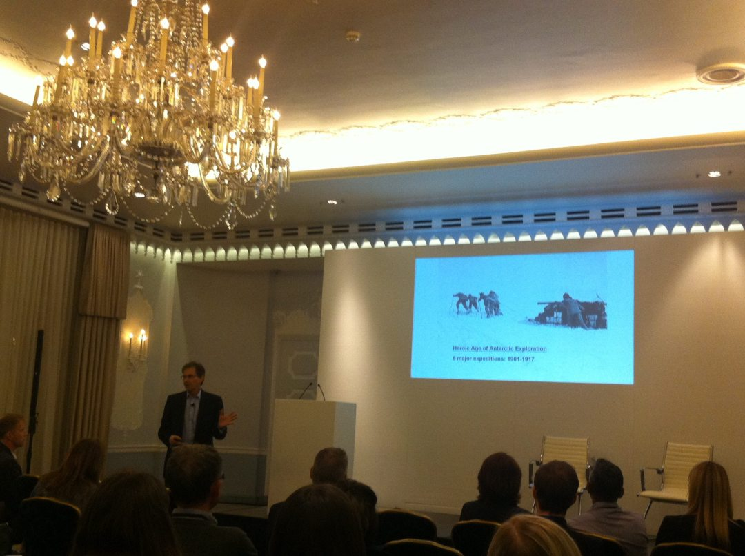 Brad presenting to a business audience at the Dorchester Hotel in London