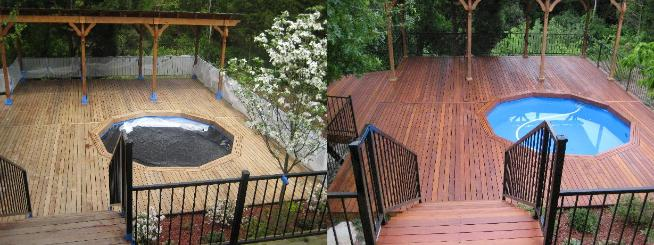Before and After Power Washing the Deck in Dupage County