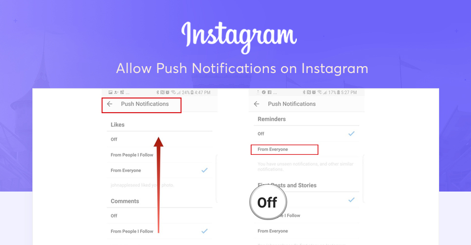 Allow push notifications instagram