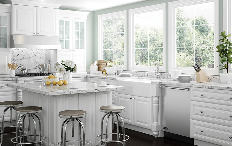 Brighton Polar White All Wood Cabinets Assembled Wood