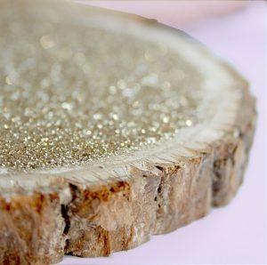 glitter log slice