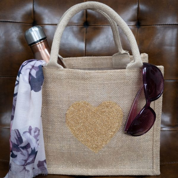 sparkly sustainable loveheart shopper