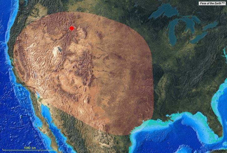 Resultado de imagem para yellowstone supervolcano map