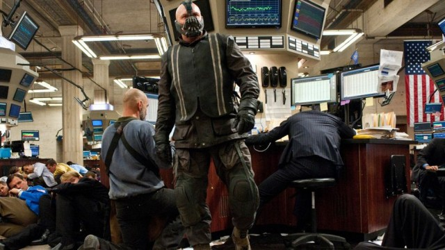 Bane raiding the Gotham Stock Exchange, in Batman: The Dark Knight Rises