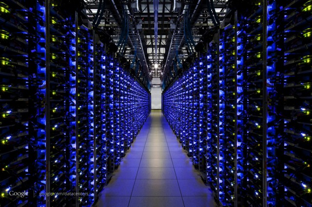 Many servers at the Douglas County Google Data Center. The blue lights mean the servers are healthy, apparently