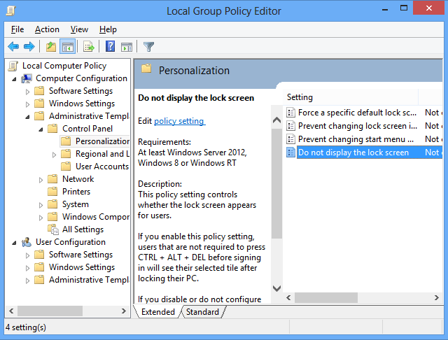 Windows 8 group policy editor: Disabling the lock screen