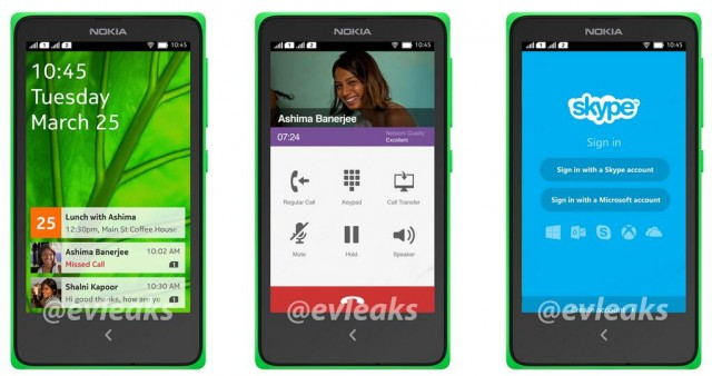 Skype, phone dialler, and other apps on Nokia's Normandy device
