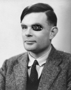 Alan Turing, with a Terminator eye that I photoshopped in. I'm not sure why.