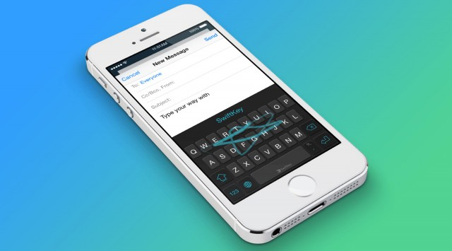 SwiftKey on iOS 8 on an iPhone 5S