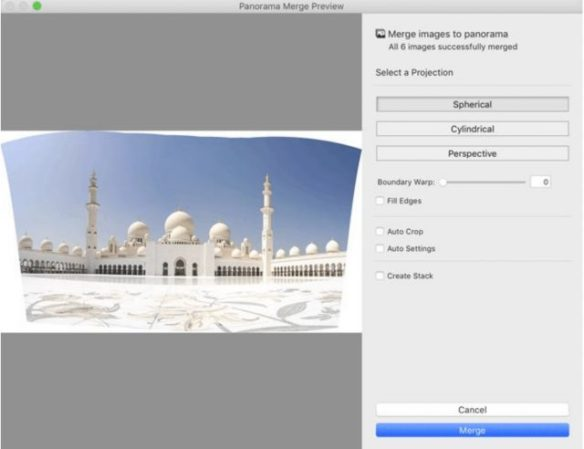 Lightroom can now automatically fill in blank areas created when merging panoramas